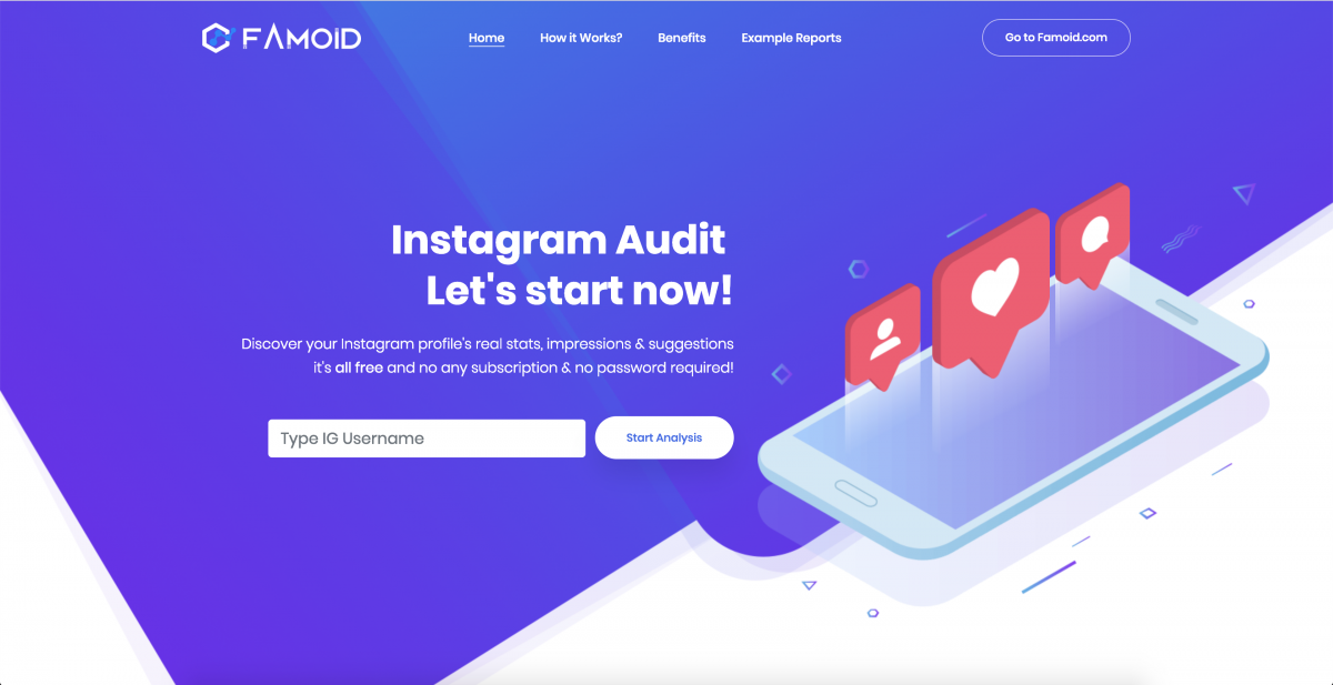 Free Instagram Audit Tool: Famoid Analytics - Step:1