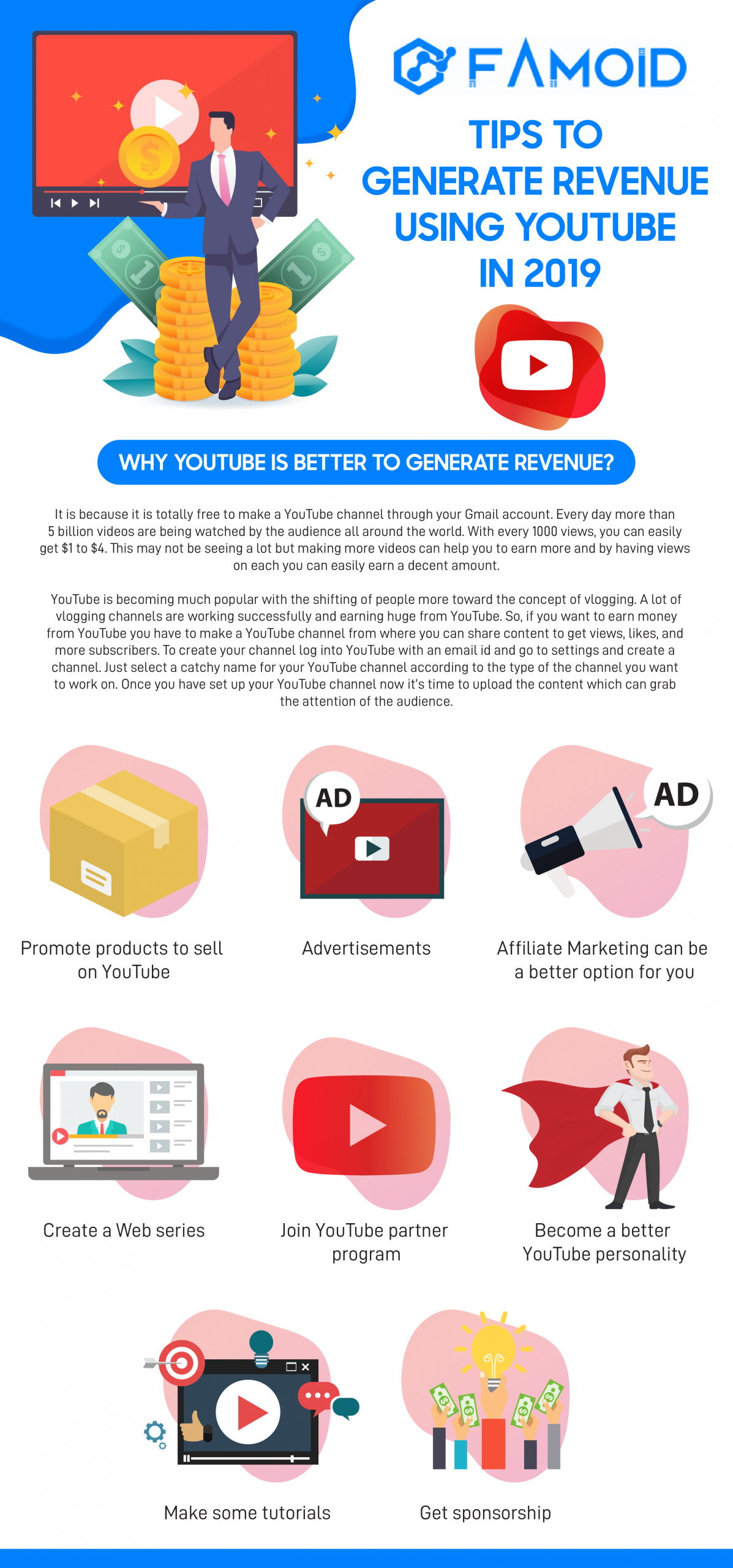 Tips to Generate Revenue from Youtube - Famoid's Infographic