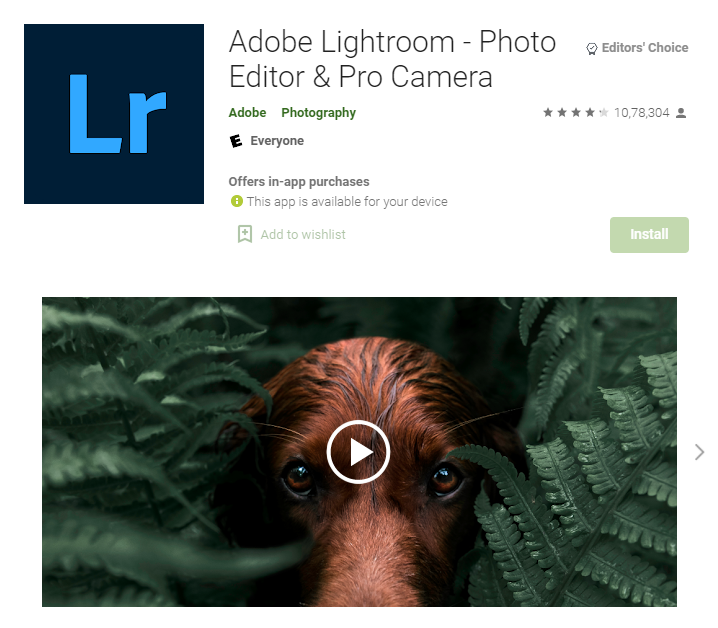 Adobe lightroom - best android photo editing apps for Instagram
