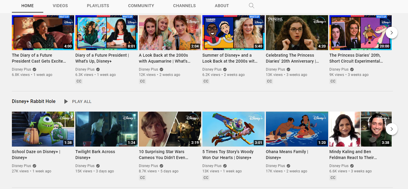 Disney YouTube channel example