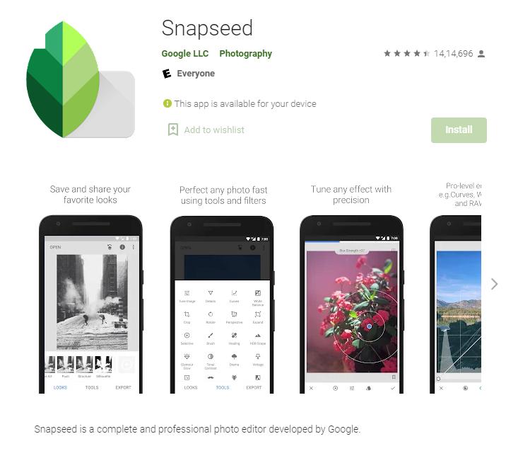 Snapseed - Instagram photo editing app
