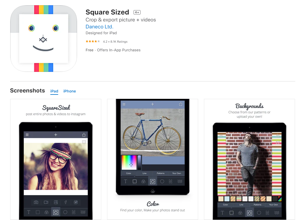 Sqaure sized - Instagram photo editing apps for iOS
