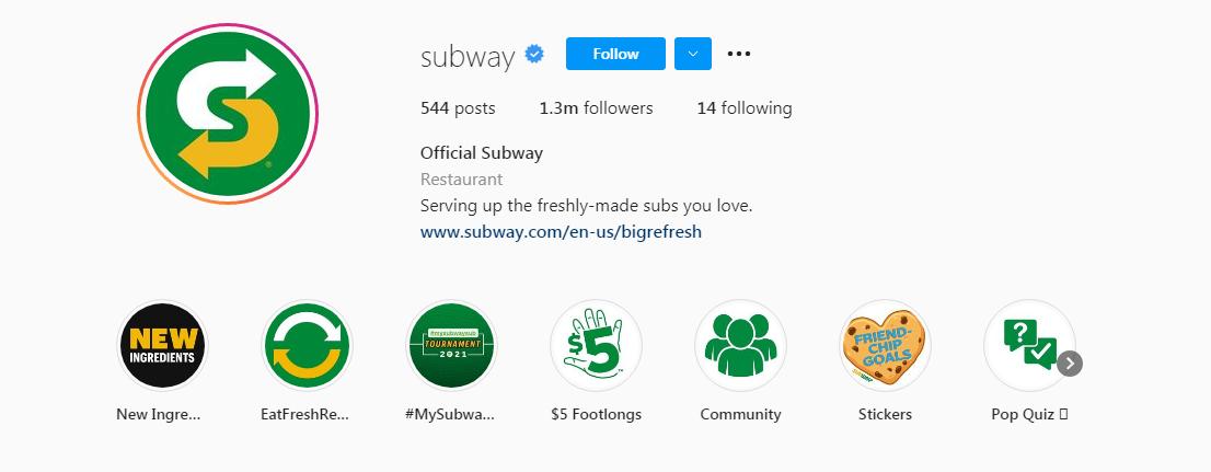 Subway instagram profile