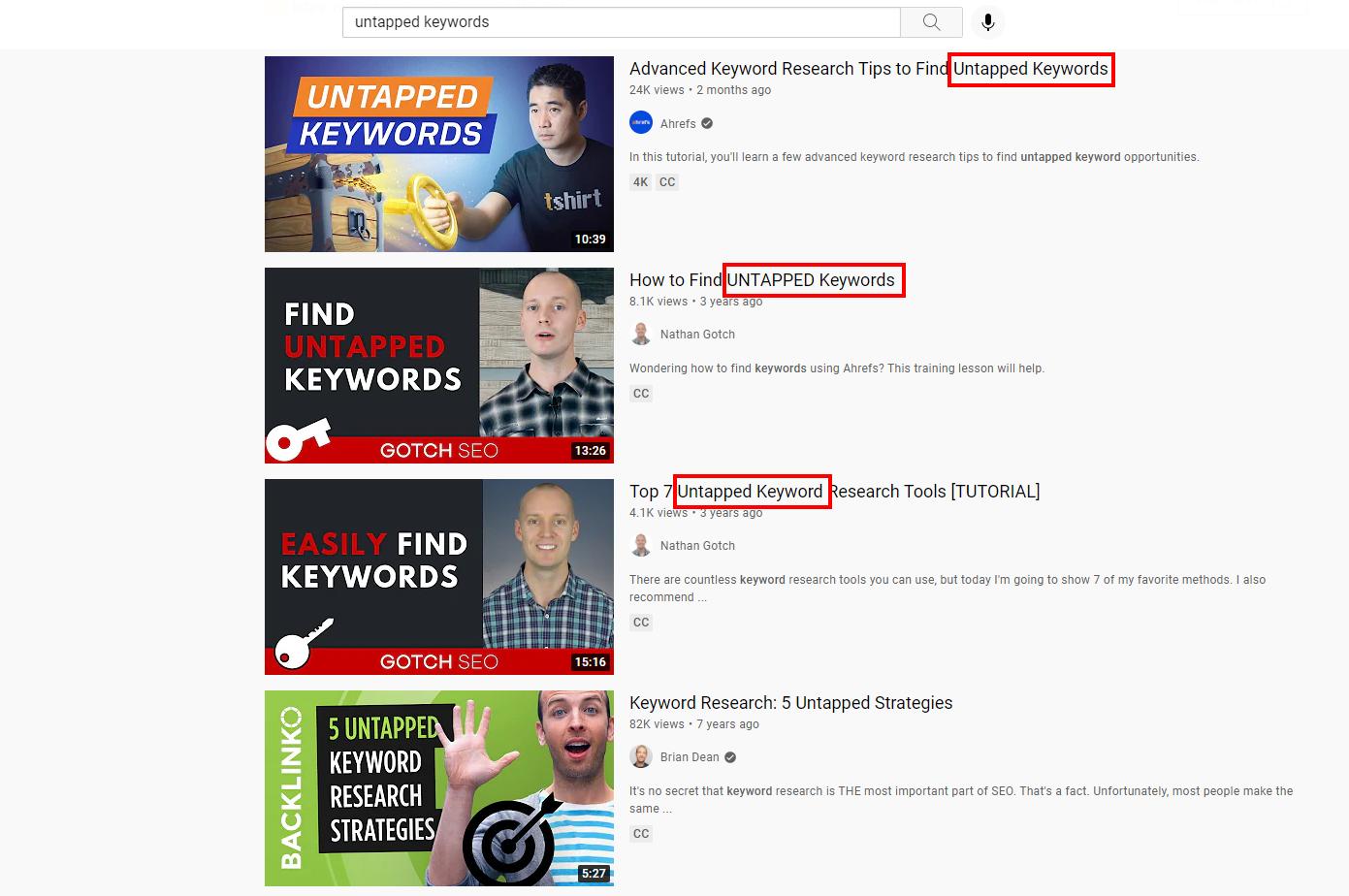 YouTube keyword optimization