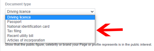 Choose document type for facebook page verification