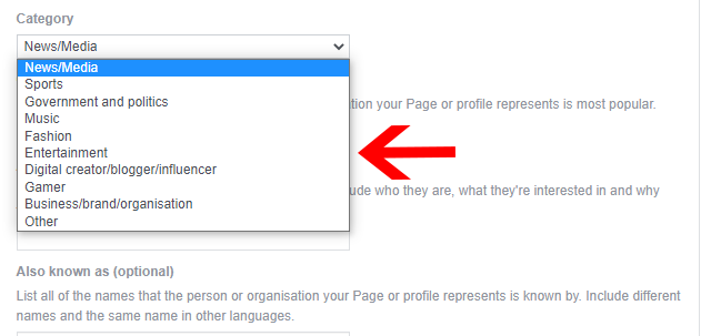 Choose page category