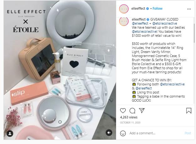 Elleeffect instagram giveaway post
