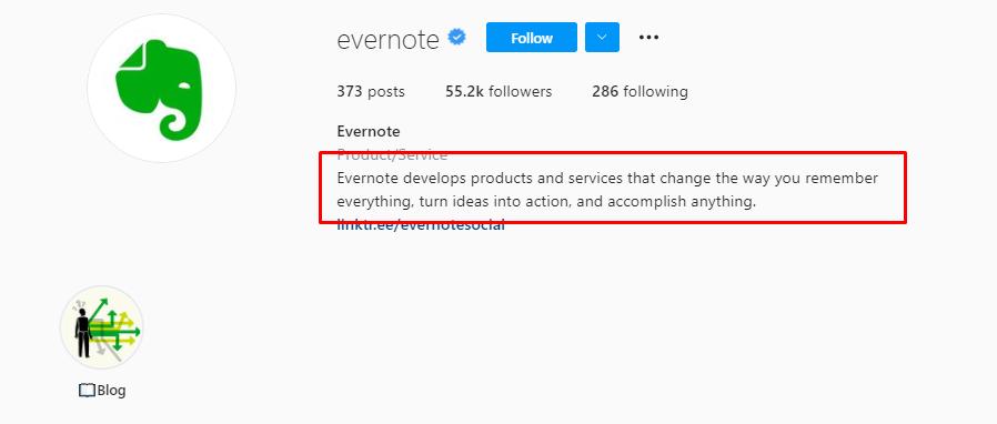 Evernote instagram profile