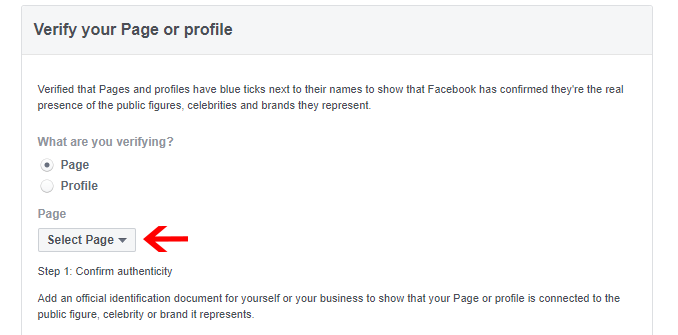 Select facebook page for verification