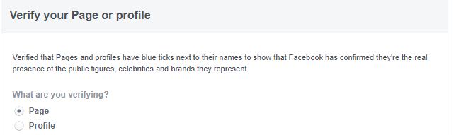Select facebook page or profile for verification