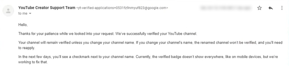 YouTube channel verified