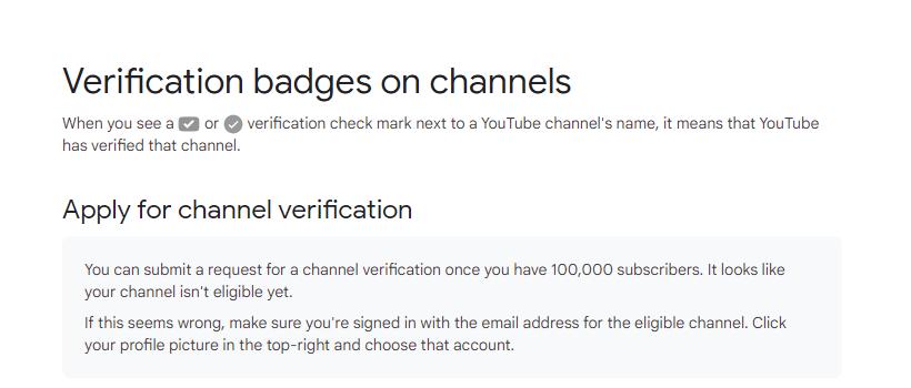 YouTube verification not eligible