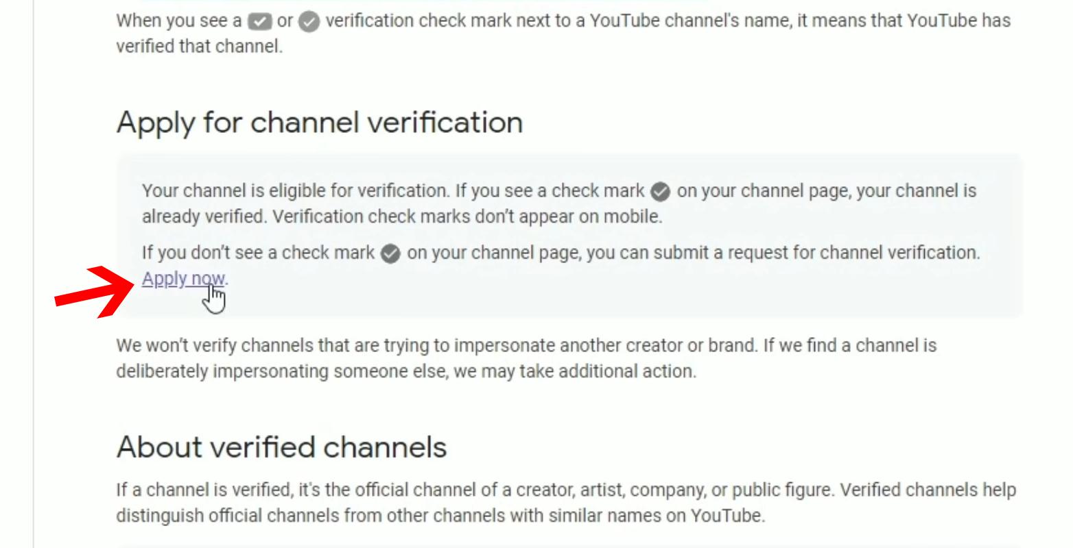 YouTube verification step 1